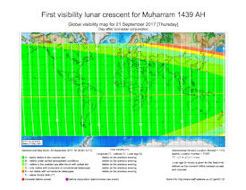 Visibility Map for Muharram 1439 AH (b)