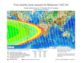 Visibility Map for Muharram 1437 AH (a)