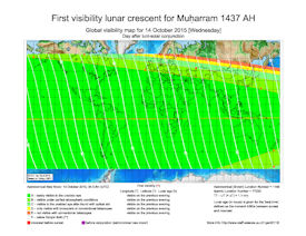 Visibility Map for Muharram 1437 AH (b)