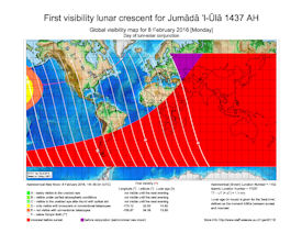 Visibility Map for Jumada Al-Ula 1437 AH (a)