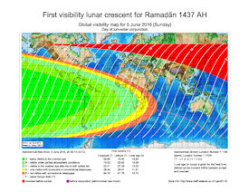 Visibility Map for Ramadan 1437 AH (a)