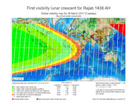 Visibility Map for Rajab 1438 AH (a)