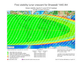 Visibility Map for Shawwal 1440 AH (b)