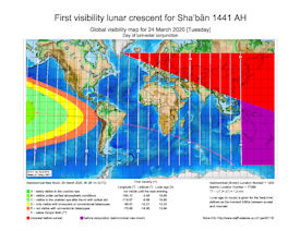 Visibility Map for Shaban 1441 AH (b)