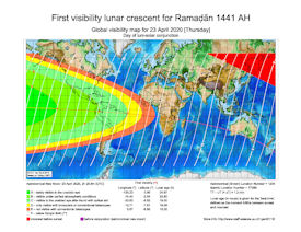 Visibility Map for Ramadan 1441 AH (a)