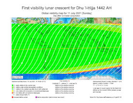 Visibility Map for Dhul Hijjah 1442 AH (b)